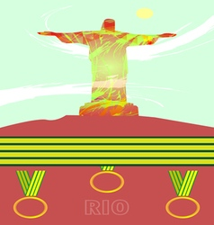 Abstract medal and rio design with statue over lig vector image
