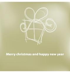 Christmas card gift box with ribbon  EPS8 vector image