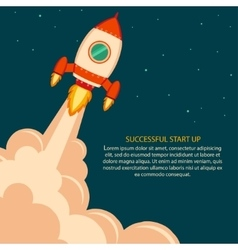 Space rocket launch start up vector