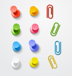 Color pins and clips collection vector image