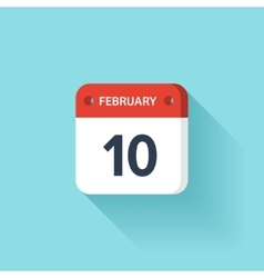February 10 isometric calendar icon with shadow vector