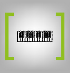 Piano keyboard sign  black scribble icon vector