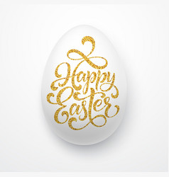 easter egg with holiday greeting golden lettering vector image