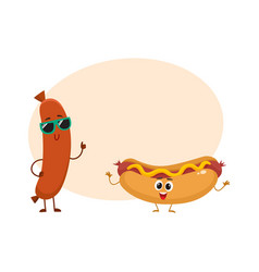 Funny smiling sausage and hotdog characters fast vector