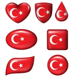 Turkey flag in various shape glossy button vector