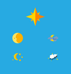 Flat icon night set of bedtime lunar asterisk vector