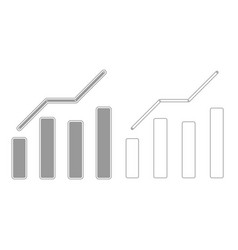 Growth chart grey set icon vector