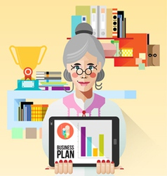 Old business woman with tablet vector