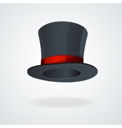 Black top hat and red ribbon isolated vector