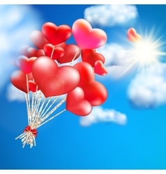Heart-shaped baloon in the sky eps 10 vector
