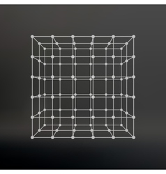 Cube of lines and dots Cube of the lines vector image