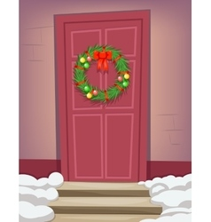 Christmas new year dinner celebration door vintage vector