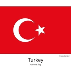 National flag of turkey with correct proportions vector