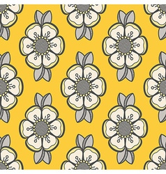Floral pattern in yellow and gray vector