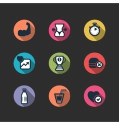 Set of fitness longshadow icons vector