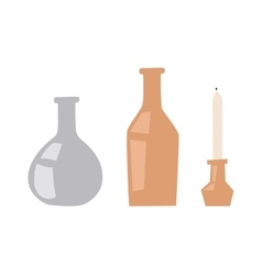 Vases and candle vector image