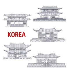 Five grand palaces of south korea thin line symbol vector