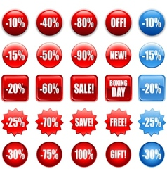 Red shopping sales icons labels tags vector