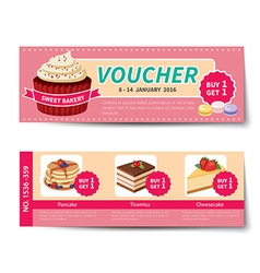 Bakery voucher discount template design vector