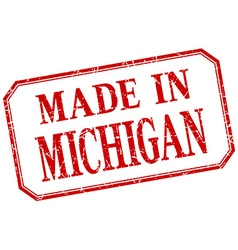 Michigan - made in red vintage isolated label vector