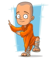 Cartoon young buddhist monk vector