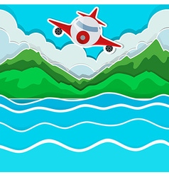 Airplane flying over the lake vector