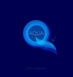 Aqua logo spa therapy emblem vector
