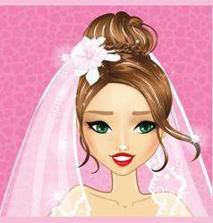 Avatar beautiful bride girl vector