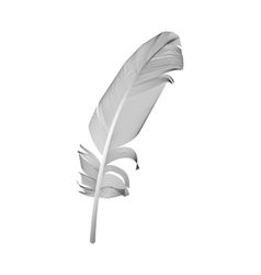 Black Bird Feather Drawn in White Background vector image vector image