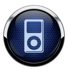 Blue honeycomb music icon vector image vector image