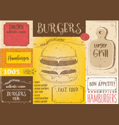 Burger placemat on craft paper vector
