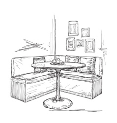 Cafe or kitchen interior Table and sofa sketch vector image vector image