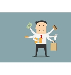 Cartoon happy businessman after shopping vector image vector image