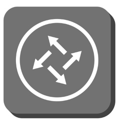 Centrifugal arrows rounded square icon vector