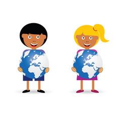 children holding planet vector image vector image