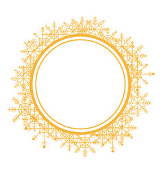 Christmas wreath with golden snow flakes frame for vector
