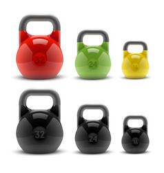 Collection of realistic classic kettlebells vector image vector image