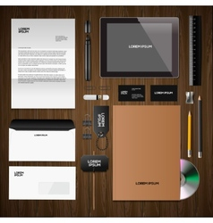 Corporate identity mock-up classic style wooden vector image