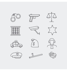 Crime and police line icons vector image