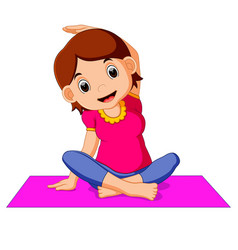 cute pregnant woman character doing yoga vector image vector image
