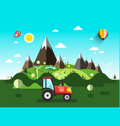 Field with tractor flat design landscape vector