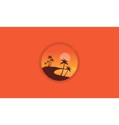 Landscape beach with palm of silhhouettes vector