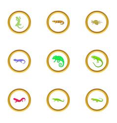 lizard icons set cartoon style vector image vector image