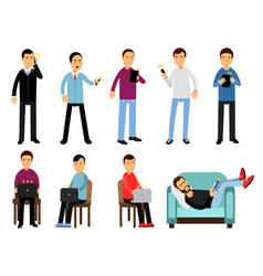 men with different devices set people using vector image vector image