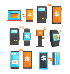 Mobile payment and other payment methods set for vector