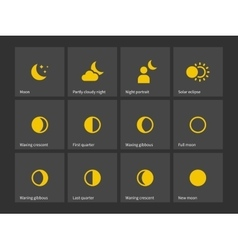 Moon through one month icons vector image