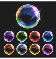 Realistic transparent soap bubbles vector