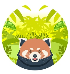 Red panda on the jungle background vector
