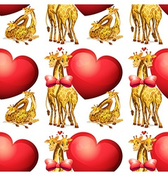 Seamless giraffes with giant hearts vector image