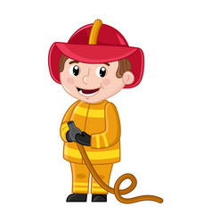 Smiling boy in fireman uniform with hose vector